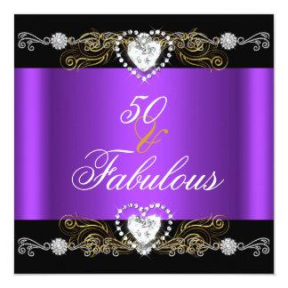 """50.o cumpleaños del oro de plata negro púrpura invitación 5.25"""" x 5.25"""""""
