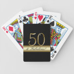 50.o cumpleaños del oro metálico negro barajas de cartas