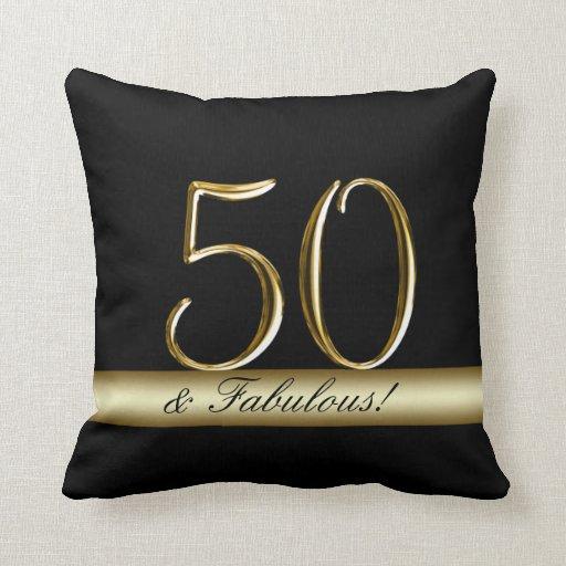 50.o cumpleaños del oro metálico negro cojín decorativo