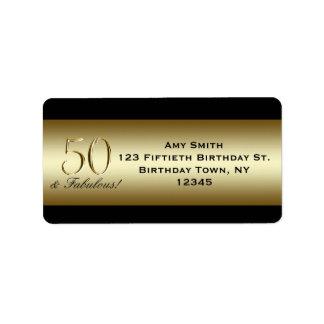 50 o cumpleaños del oro metálico negro etiqueta de dirección