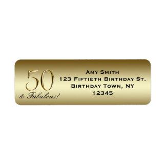 50 o cumpleaños del oro metálico negro etiqueta de remite