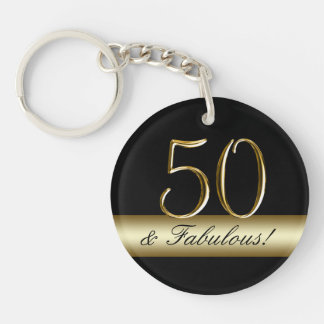 50.o cumpleaños del oro metálico negro llavero redondo acrílico a una cara