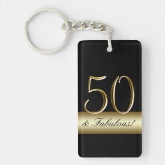 50.o cumpleaños del oro metálico negro llavero rectangular acrílico a una cara
