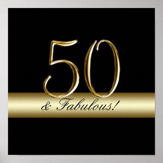 50.o cumpleaños del oro metálico negro impresiones