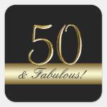 50.o cumpleaños del oro metálico negro pegatina