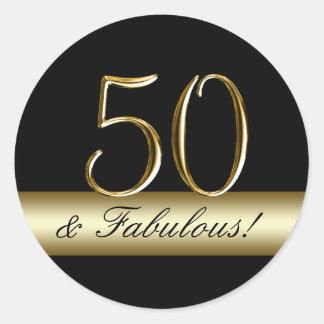 50.o cumpleaños del oro metálico negro pegatina redonda