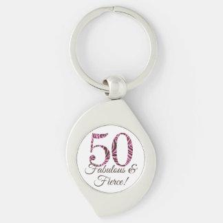 50.o cumpleaños del personalizable fabuloso y llavero plateado en forma de espiral