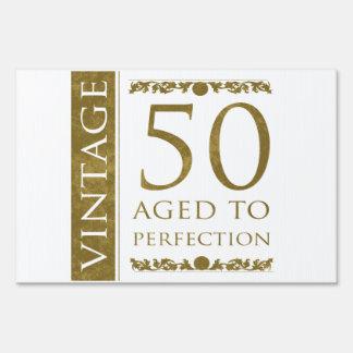 50.o cumpleaños del vintage de lujo letrero