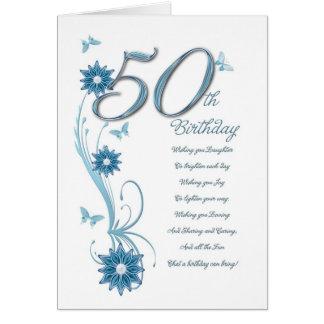 50.o cumpleaños en trullo con las flores y la tarjeta de felicitación