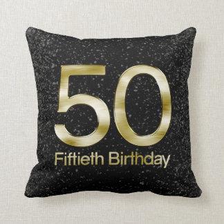 50.o Cumpleaños, encanto negro elegante del oro Cojín