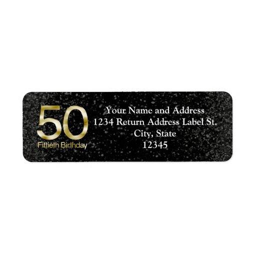 50.o Cumpleaños, encanto negro elegante del oro Etiquetas De Remite