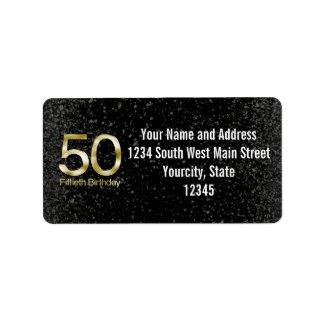 50.o Cumpleaños, encanto negro elegante del oro Etiqueta De Dirección