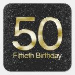 50.o Cumpleaños, encanto negro elegante del oro Calcomania Cuadradas Personalizadas