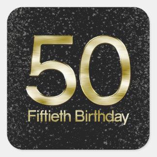 50.o Cumpleaños, encanto negro elegante del oro Pegatina Cuadrada