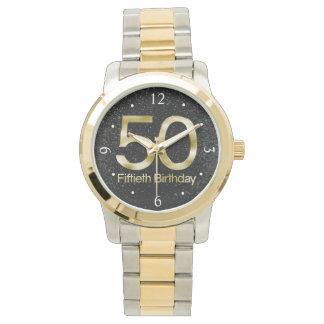 50.o Cumpleaños, encanto negro elegante del oro Reloj De Mano