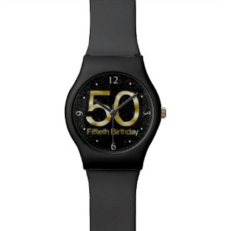 50.o Cumpleaños, encanto negro elegante del oro Relojes
