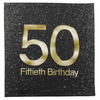 50.o Cumpleaños, encanto negro elegante del oro Servilleta Imprimida