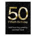 50.o Cumpleaños, encanto negro elegante del oro Felicitación