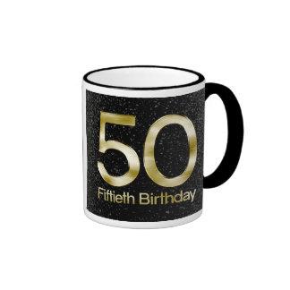 50.o Cumpleaños, encanto negro elegante del oro Taza De Dos Colores