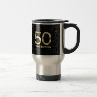 50.o Cumpleaños, encanto negro elegante del oro Taza Térmica