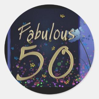 ¡50.o cumpleaños fabuloso! pegatina redonda
