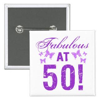 50.o cumpleaños fabuloso pin cuadrado