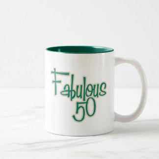 50.o cumpleaños fabuloso taza de dos tonos
