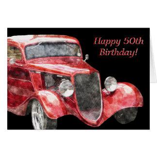 ¡50.o cumpleaños feliz! Coche de la obra clásica d Tarjeton
