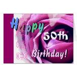 50.o CUMPLEAÑOS FELIZ con la flor color de rosa y  Tarjetas