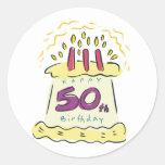¡50.o cumpleaños feliz! etiquetas redondas