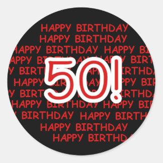 50.o cumpleaños feliz pegatina redonda