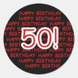 50.o cumpleaños feliz pegatinas redondas
