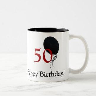 50.o cumpleaños feliz taza dos tonos