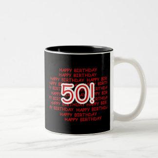 50.o cumpleaños feliz taza de dos tonos