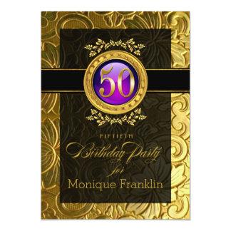 """50.o cumpleaños grabado en relieve encanto invitación 5"""" x 7"""""""