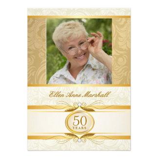 50 o cumpleaños - invitación de la foto del damasc