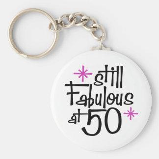 50.o Cumpleaños Llavero Redondo Tipo Pin