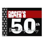50.o Cumpleaños moderno para él negro blanco rojo Invitación 12,7 X 17,8 Cm