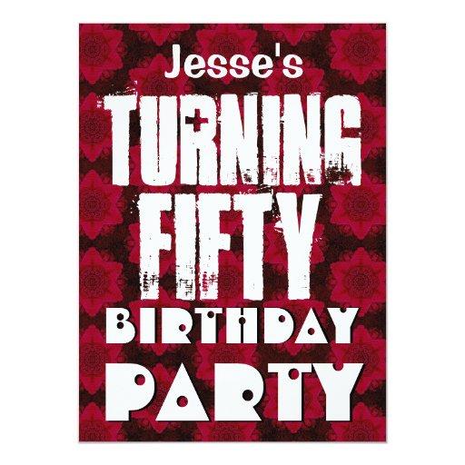 """50.o cumpleaños moderno que da vuelta a cuarenta invitación 5.5"""" x 7.5"""""""