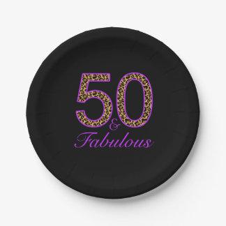50.o cumpleaños negro púrpura fabuloso del plato de papel de 7 pulgadas