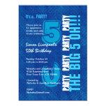 50.o Cumpleaños para él azul real y aguamarina Invitación