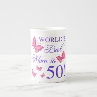 50.o Cumpleaños para la mamá Taza De Porcelana