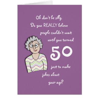 50.o Cumpleaños para la tarjeta Ella-Divertida