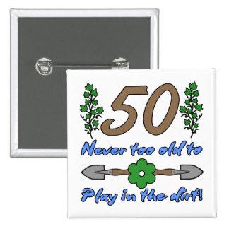 50.o Cumpleaños para los jardineros Pin Cuadrado