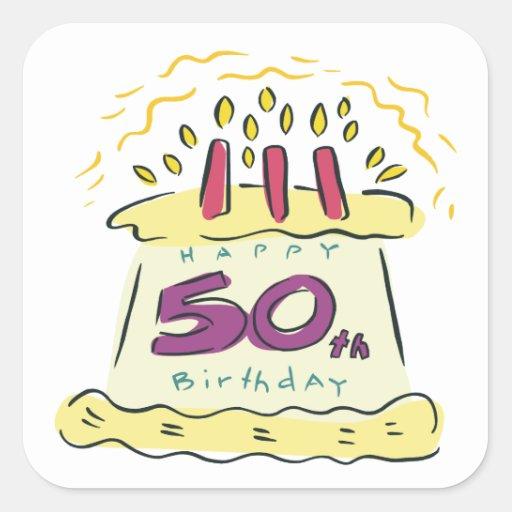 50.o Cumpleaños Pegatina Cuadrada