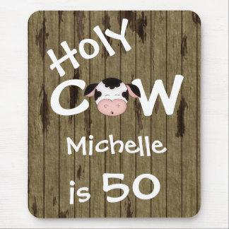 50.o cumpleaños personalizado de la vaca santa alfombrillas de ratones