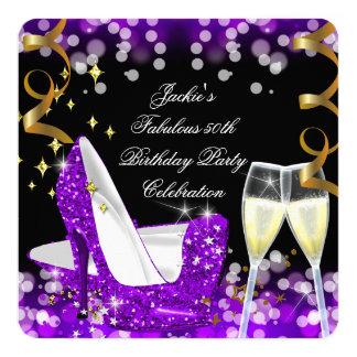 50.o Cumpleaños púrpura fabuloso del tacón alto Invitación 13,3 Cm X 13,3cm