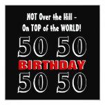 50.o Cumpleaños W1027 divertido negro de plata Comunicados Personales