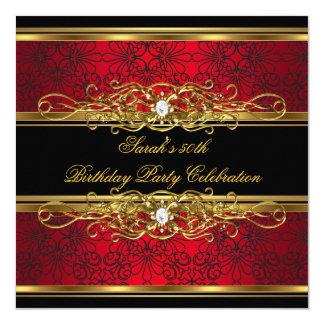 """50.o damasco negro rojo elegante del oro de la invitación 5.25"""" x 5.25"""""""