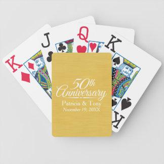 50.o De oro personalizada del aniversario de boda Cartas De Juego